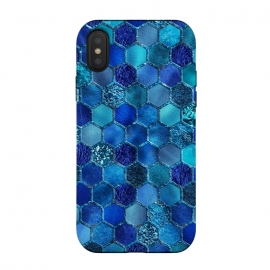 iPhone X  Blue HOneycomb Glitter Pattern by Utart