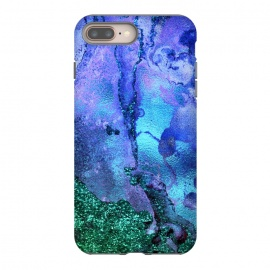 Blue and Green Glitter Ink Marble by Utart