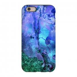 iPhone 6/6s  Blue and Green Glitter Ink Marble by Utart