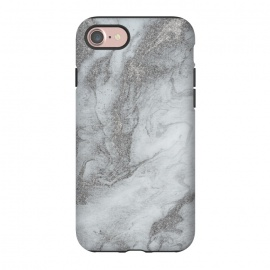 iPhone 8/7  Grey Silver Marble by Andrea Haase (abstract, grey, gray, marble, liquid, elegant, mineral, veines, pastel, stone, gemstone, soft, beautiful, agate, gift, extravagant, exquisite, marbled)