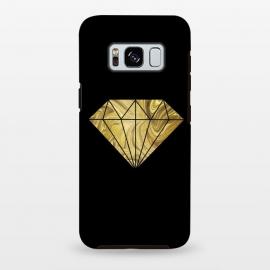 Galaxy S8 plus  Golden Diamond  Faux Glitter On Black by