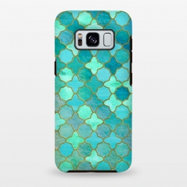 Galaxy S8+  Aqua Moroccan Shapes Pattern  by Utart