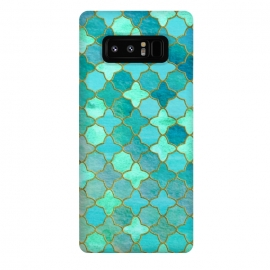 Galaxy Note 8  Aqua Moroccan Shapes Pattern  by