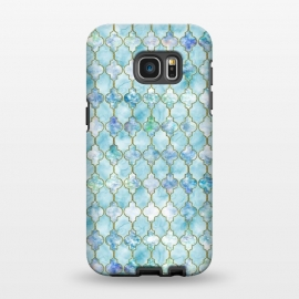 Galaxy S7 EDGE  Blue Moroccan Shapes Pattern  by Utart