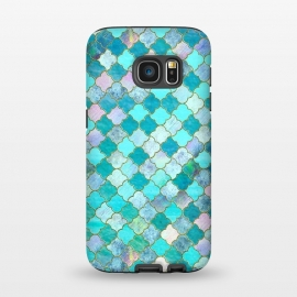 Galaxy S7  Multicolor Teal Moroccan Shapes Pattern  by Utart