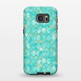 Galaxy S7 EDGE  Multicolor Teal Blue Moroccan Shapes Pattern  by Utart