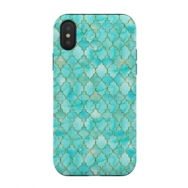 Multicolor Teal Blue Moroccan Shapes Pattern  by Utart