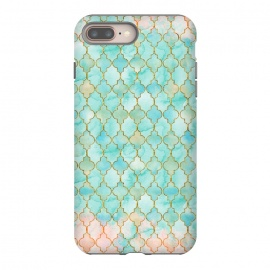iPhone 8/7 plus  Multicolor Teal Pink Moroccan Shapes Pattern  by Utart