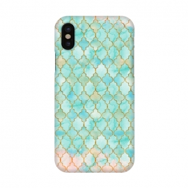 iPhone X  Multicolor Teal Pink Moroccan Shapes Pattern  by Utart