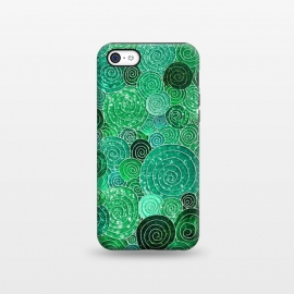 iPhone 5C  Green Circles Polka dots Glitter Pattern by Utart