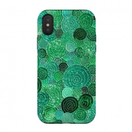 iPhone Xs / X  Green Circles Polka dots Glitter Pattern by Utart (glitter, texture, sparkle, shiny, pink, luxury, shine, glow, metallic, valentine, glamour, love, wedding, glowing, bokeh, effect, metal, blur, brilliant, twinkle, valentines day, elegant, fashion, gleam, gloss, brilliance, rose gold, romantic, shimmer, flare, glossy, sparks, glisten,dots,dot,polka d)