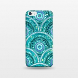 iPhone 5C  Blue Silver Circles and Dots Glitter  Pattern by Utart