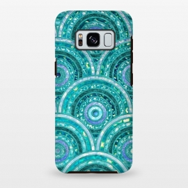 Galaxy S8+  Blue Silver Circles and Dots Glitter  Pattern by Utart