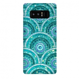 Galaxy Note 8  Blue Silver Circles and Dots Glitter  Pattern by