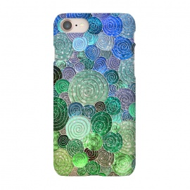 iPhone 8/7  Green and Blue Circles and Polka Dots pattern by Utart