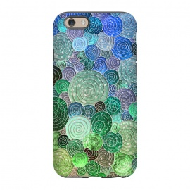 iPhone 6/6s  Green and Blue Circles and Polka Dots pattern by Utart