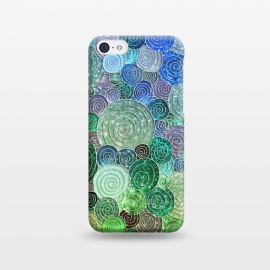 iPhone 5C  Green and Blue Circles and Polka Dots pattern by Utart
