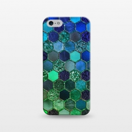 iPhone 5/5E/5s  Green and Blue Metalic Honeycomb Pattern by Utart