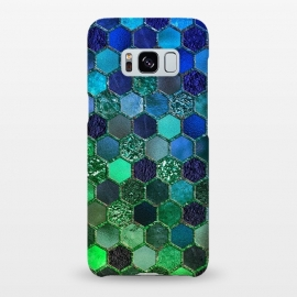 Galaxy S8+  Green and Blue Metalic Honeycomb Pattern by Utart