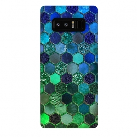 Galaxy Note 8  Green and Blue Metalic Honeycomb Pattern by Utart