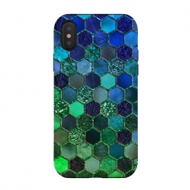 iPhone Xs / X  Green and Blue Metalic Honeycomb Pattern by Utart (glitter, texture, sparkle, shiny, pink, luxury, shine, glow, metallic, valentine, glamour, love, wedding, glowing, bokeh, effect, metal, blur, brilliant, twinkle, valentines day, elegant, fashion, gleam, gloss, brilliance, romantic, shimmer, flare, glossy, sparks, glisten,honeycomb,bee,pattern,blue )