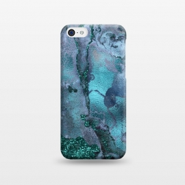 iPhone 5C  Blue and Teal Ink Glitter Marble by Utart