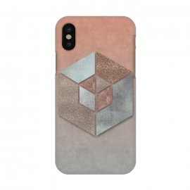iPhone X  Copper Gray Hexagon by Andrea Haase