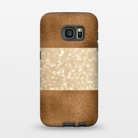 Galaxy S7  Faux Glitter And Copper by Andrea Haase (copper, glamour, precious, glamorous, shiny, sparkle, luxury, elegant, feminine, exclusive, metallic, metal, beautiful,  shimmering, elegance, extravagant, exquisite, fancy, fashionable, rich, gift,brown,glitter)