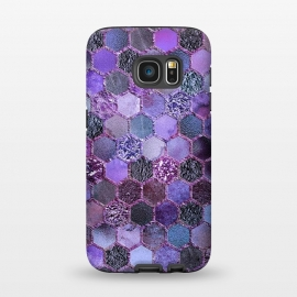 Galaxy S7  Purple Metal Honeycomb Pattern by Utart (glitter, texture, sparkle, shiny, pink, luxury, shine, glow, metallic, valentine, glamour, love, wedding, glowing, bokeh, effect, metal, blur, brilliant, twinkle, valentines day, elegant, fashion, gleam, gloss, brilliance, romantic, shimmer, flare, glossy, sparks, glisten,purple,ultra violet,violet,)