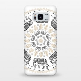 Galaxy S8+  Elephant mandala white by Laura Grant
