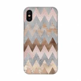 iPhone X  Rose Gold Marble Chevron by Utart
