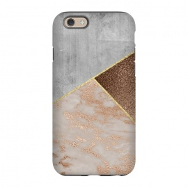 iPhone 6/6s  ROse Gold Copper and Concrete Triangles Pattern by Utart