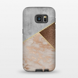Galaxy S7  ROse Gold Copper and Concrete Triangles Pattern by Utart