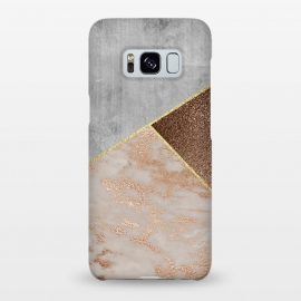 Galaxy S8+  ROse Gold Copper and Concrete Triangles Pattern by Utart