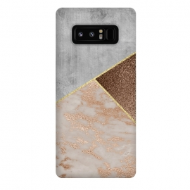 Galaxy Note 8  ROse Gold Copper and Concrete Triangles Pattern by