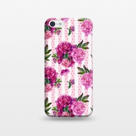 iPhone 5C  Stripes and Peonies  by Utart