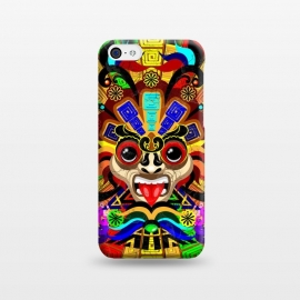 iPhone 5C  Aztec Warrior Mask Rainbow Colors by BluedarkArt
