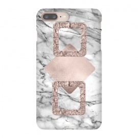 Rose Gold Geometric Shapes on Marble by Utart