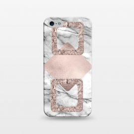 iPhone 5/5E/5s  Rose Gold Geometric Shapes on Marble by Utart