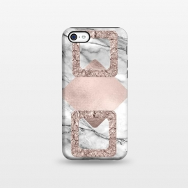 iPhone 5C  Rose Gold Geometric Shapes on Marble by Utart