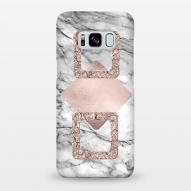 Galaxy S8+  Rose Gold Geometric Shapes on Marble by Utart