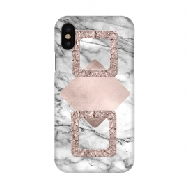iPhone X  Rose Gold Geometric Shapes on Marble by Utart