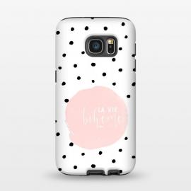 Galaxy S7  La Vie Bohme On Polka Dots by Utart (texture, abstract, pattern, polka, illustration, white, graphic, art, circle, dot, modern, retro, geometric, decorative, vintage, simple, black, girl, fashion, cute, style, trendy, pastel, polka dot, dotted, romantic, elegant, polka dots background, pink,typography, font, text, typographic, letterin)