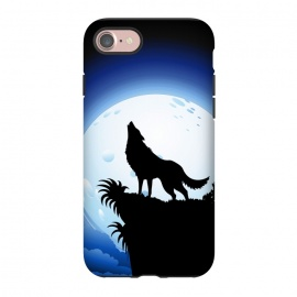 iPhone 8/7  Wolf Howling at Blue Moon by BluedarkArt