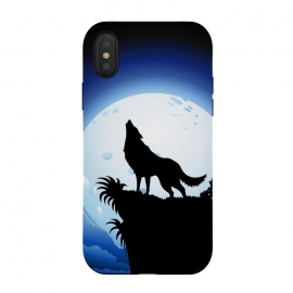 iPhone Xs / X  Wolf Howling at Blue Moon by BluedarkArt (wolf, wild wolf, wild animal, symbolic animal, wolf howling, full moon, blue moon, wildlife, wild nature, night, moonlight, winter night, mountain, cliff, nature, tree, sky, clouds, legendary wolf, black wolf, howl, bay, ululate, yammer, yawl)