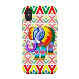 iPhone Xs / X  Elephant Rainbow Colors Patchwork by BluedarkArt (elephant, animal, africa, symbol, asia, symbolic, african, colors, abstract, patchwork, naif, style, ethnic, artistic, colorful, mammal, wild, savannah, baby, childhood, childlike, cute, decoration, decorative, ornamental)