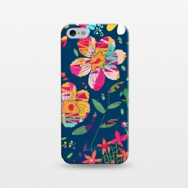 iPhone 5/5E/5s  Paper Floral by Uma Prabhakar Gokhale (collage, pattern, graphic design, floral, nature, flowers, abstract, botanical, vibrant, colorful, pink, green, blue orange, yellow, blush, exotic)
