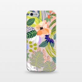 iPhone 5/5E/5s  Wander by Uma Prabhakar Gokhale (graphic, pattern, abstract, nature, floral, blossom, bloom, botanical, forest, garden, white, blush, green, blue, multicolor, bold)