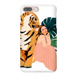 iPhone 8/7 plus  Tiger Spirit by  (girl, woman, tiger, pastel, forest, wild, nature, leaves, tropical, travel, monstera, portrait, fashion, animals, jungle)