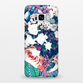 Galaxy S8+  Bouquet by Uma Prabhakar Gokhale (graphic, abstract, floral, nature, teal, blue, green, pink, red, white, intricate, detailed, exotic, botanical, flowers, blossom, bloom)
